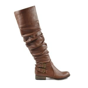 Women's Stacked Heel Cognac Leather Knee High Boot